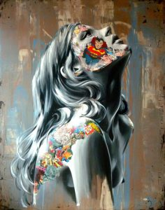 petit-la-cage-et-le-combat-sans-fin-60x48-mix-media-on-canvas-2014-sandra-chevrier